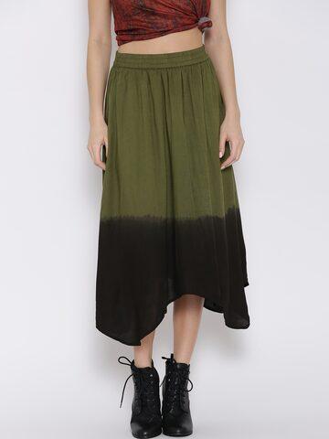 Vero Moda Olive Green Flared Midi Skirt at myntra