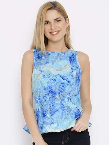 Vero Moda Blue Printed Top at myntra