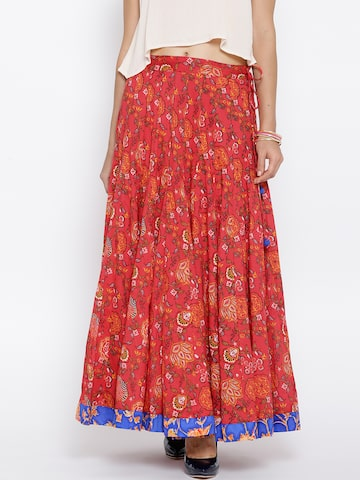 BIBA Red Floral Print Flared Maxi Skirt at myntra