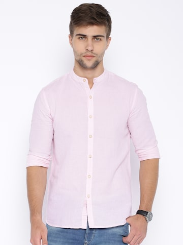 Flying Machine Pink Linen Casual Shirt at myntra