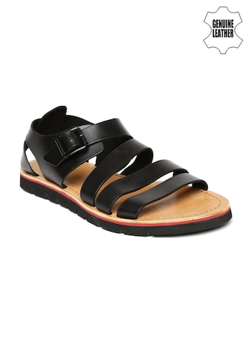 Clarks Men Black Genuine Leather Sandals at myntra