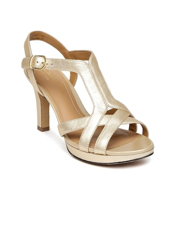 Clarks Women Muted Gold-Toned Leather Heels at myntra