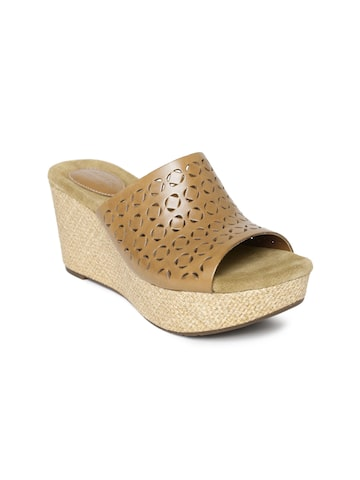 Clarks Women Brown Leather Wedges at myntra