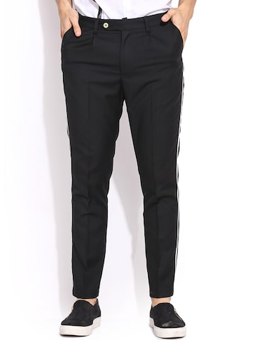 MR BUTTON Black Slim Fit Casual Trousers at myntra