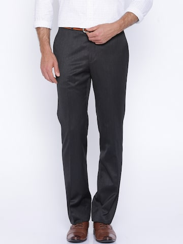 Raymond Charcoal Grey Contemporary Fit Formal Trousers at myntra