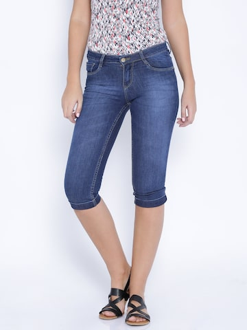 Kraus Jeans Blue Skinny Fit Denim Capris at myntra