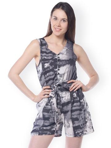 Meira Black & Grey Printed Playsuit at myntra