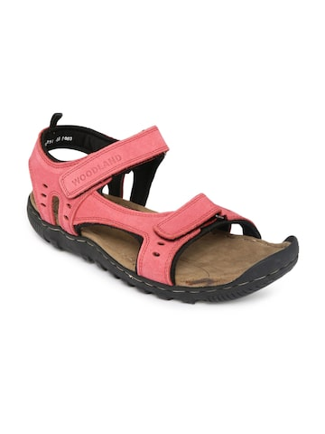 Woodland Men Red Leather Sandals at myntra