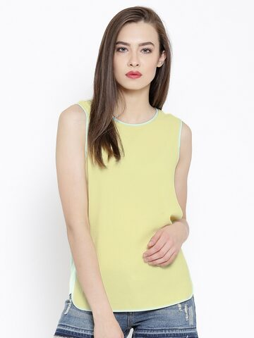 Vero Moda Yellow Panelled Top at myntra
