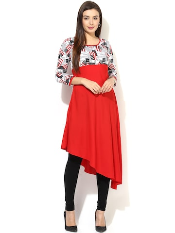 AKS Red Printed Kurta at myntra