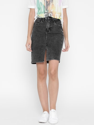 ONLY Black Washed High-Rise Denim Pencil Skirt at myntra