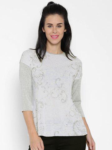 ONLY Grey Melange Printed T-shirt at myntra