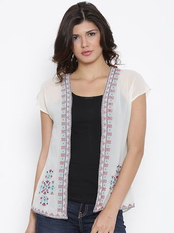 Fusion Beats Cream-Coloured Embroidered Sheer Shrug at myntra