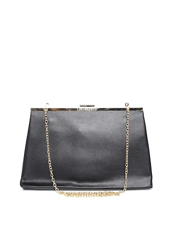 Lisa Haydon for Lino Perros Black Clutch with Chain Strap at myntra