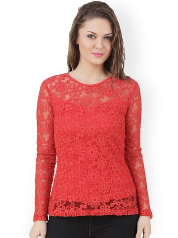 Texco Red Lace Top at myntra