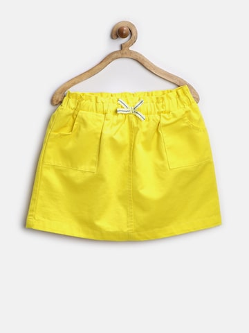 United Colors of Benetton Girls Yellow A-Line Skirt at myntra