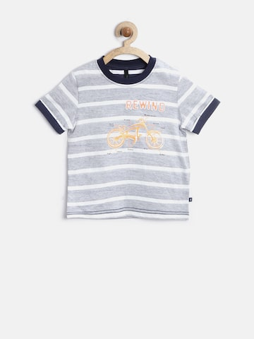 United Colors of Benetton Boys Blue Reverse Striped T-shirt at myntra