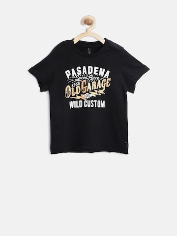 United Colors of Benetton Boys Black Printed T-Shirt at myntra