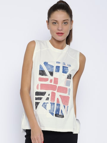 Pepe Jeans Off-White Printed T-shirt at myntra
