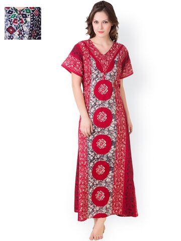 Masha Pack of 2 Printed Maxi Nightdresses NT2PC-182-180 at myntra