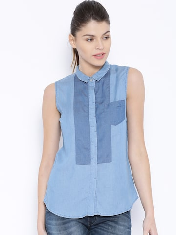 Lee Blue Kristen Sleeveless Shirt at myntra