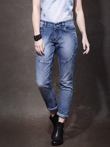Roadster Women Blue Skinny Fit Mid-Rise Clean Look Jeans at myntra