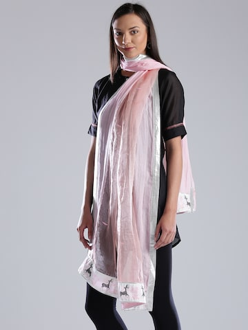 W Pink Silk Patterned Dupatta at myntra