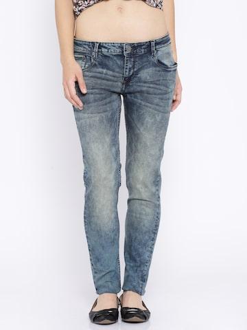 Ed Hardy Blue Acid Washed Super Skinny Jeans at myntra