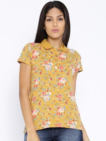 Ed Hardy Mustard Yellow Floral Print Polo T-shirt at myntra
