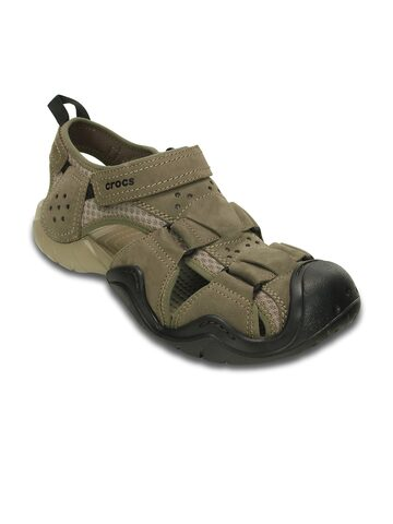 Crocs Men Brown Genuine Leather Sandals at myntra