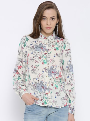 Vero Moda Off-White Polyester Floral Print Shirt at myntra