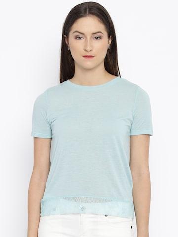Vero Moda Blue Lace Back Top at myntra