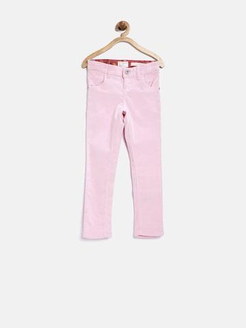 GJ Unltd Jeans by Gini & Jony Girls Pink Slim Corduroy Trousers at myntra