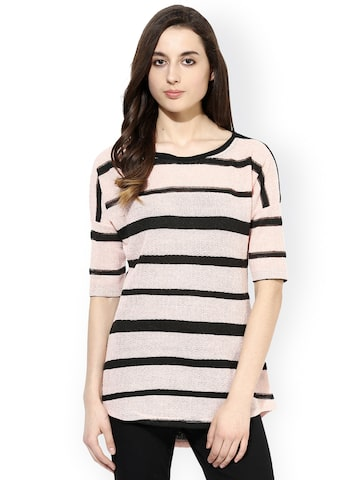 Raindrops Peach-Coloured & Black Striped Top at myntra