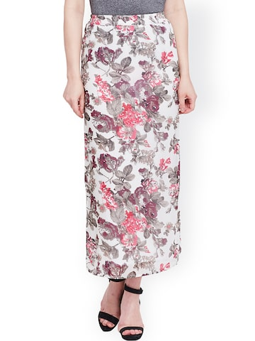 The Vanca White Floral Print Maxi Skirt at myntra