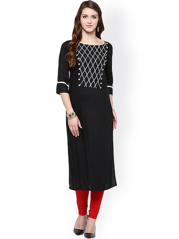 Jaipur Kurti Black Kurta at myntra