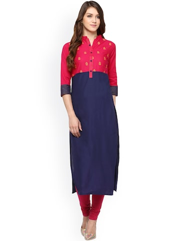 Jaipur Navy Blue & Pink Kurta at myntra
