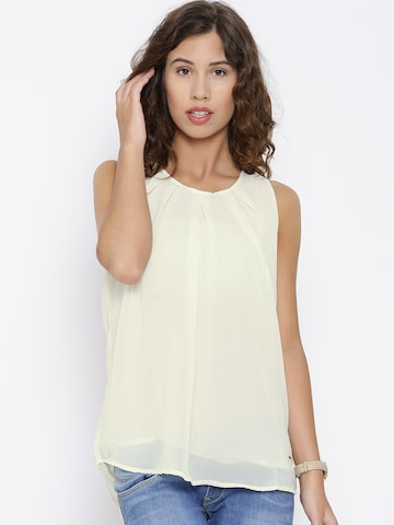Pepe Jeans Off-White Polyester Pleated Top at myntra