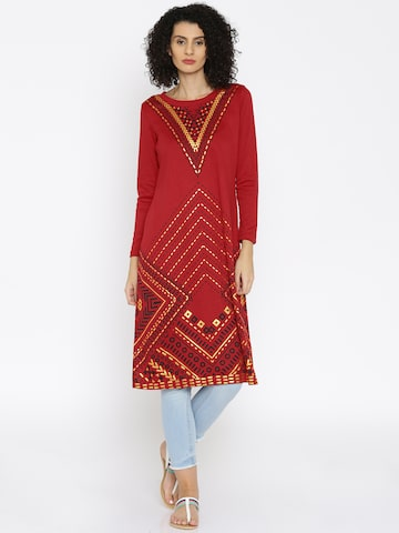 Global Desi Red Printed Kurta at myntra