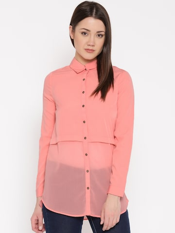 Vero Moda Coral Pink Panelled Polyester Shirt at myntra