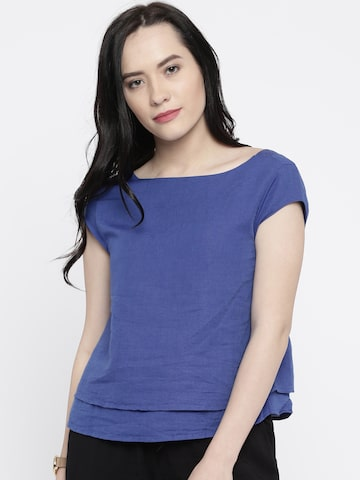 Vero Moda Women Blue Solid Regular Top at myntra
