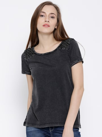 Vero Moda Charcoal Grey Washed Crochet Back Top at myntra