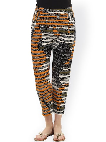 Oxolloxo Multicoloured Striped Trousers at myntra