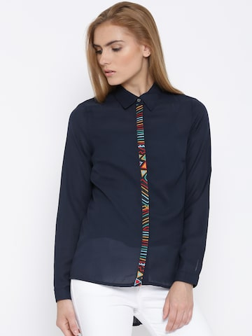 Vero Moda Navy Polyester Casual Shirt at myntra