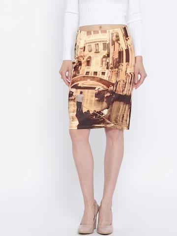 Vero Moda Marquee by Kangana Ranaut Brown & Beige Printed Pencil Skirt at myntra