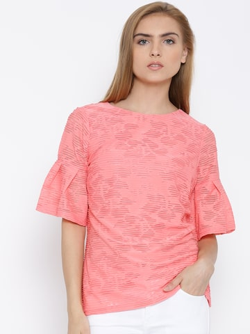 Vero Moda Pink Polyester Top with Embossed Detail at myntra