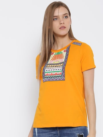 Vero Moda Orange Printed T-shirt at myntra