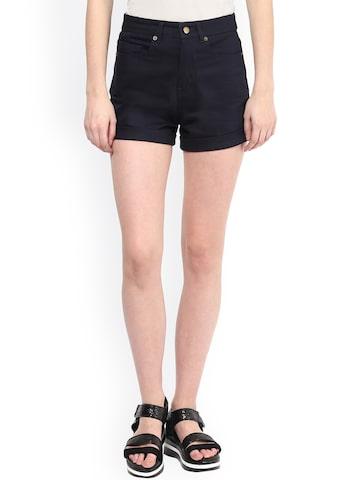 Hypernation Navy Slim Fit Shorts at myntra