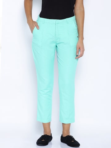Pepe Jeans Turquoise Blue Linen Trousers at myntra