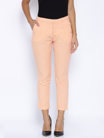 Pepe Jeans Peach-Coloured Linen Trousers at myntra